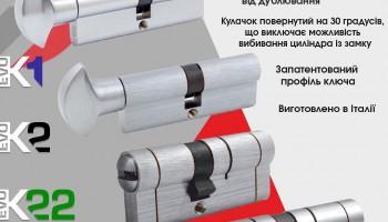Основні особливості дверних циліндрів серій К1, К2, К22 і К64 ТМ Securemme: